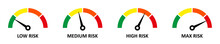 Set Of Colorful Speedometer Icons. Speedometer Or Tachometer Signs. Speed Indicator, Scale From Green To Red. Risk Meter. Minimum To Maximum On Speedometer.