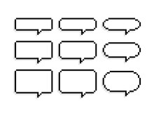 Pixel Art 8-bit Speech Bubbles Set In Different Shapes On White Background - Isolated Vector Illustration