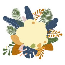 Summer Background With Leaves. Tropical Fall Colors. Flat Style Vector Illustration For Sale Banner, Invitation,card, Poster Etc.