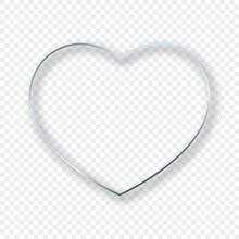 Silver Glowing Heart Shape Frame With Shadow
