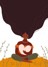 Beautiful Black Woman Holding A Big Heart. Love, Self Care, Support, Feminism Concept. Isolated Abstract Flat Vector Illustration For Modern Poster, Print Design. Female Character With Long Hair.