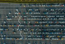 Aerial View Of Vehicles Closely Parked At A Manufacturing Site, Ghent, Belgium.