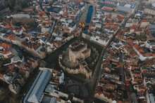 Aerial View Of The Medieval Castle Of The Counts, Gravensteen In Ghent, Belgium.