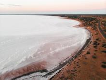 Aerial View Of A Salt Lake Called Lake Hart, South Australia, Australia.