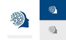 Abstract Artificial Intelligence Logo. Innovative High Tech Logo Template. Smart Computer. Machine Learning. Cognitive Logo. Technology Logo.