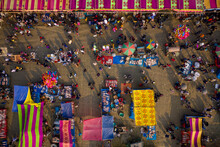 Aerial View Of People In A Local Fish Market With Colourful Bazaars In Countryside Near Gabtali, Rajshahi, Bangladesh.