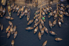 Aerial View Of Traditional Fishing Boat Docked Along Shitalakshya River In Bandar Township, Dhaka State, Bangladesh.