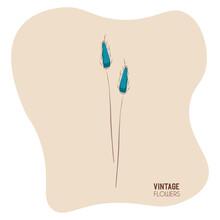 Isolated Blue Vintage Flowers Art Decorative Vector Illustration