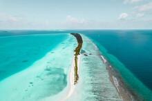 Aerial View Of Long Beach Dhigurashu Thundi, A Paradise Island On Alifu Dhaalu Atoll Near Alif Alif, Maldives.