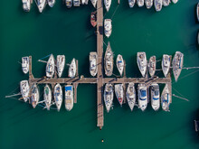 Aerial View Of Fecamp Harbour With Boats Anchored At The Pier, Seine-Maritime, France.