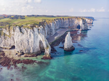 Aerial View Of Falaise D'Aval, A Soaring Chalk Cliff With Natural Arch Along The Coastline, Seine-Maritime, France.