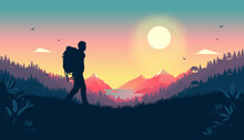 Loving Nature Walk - Silhouette Of Man Walking With Backpack In Landscape With Sea, Mountains And Forest In Background. Stress Reduction And Solitude Concept. Vector Illustration.