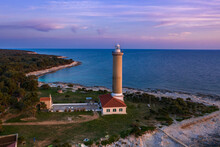 Aerial View Of Veli Rat Lighthouse,Soline, Croatia