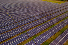 Aerial View Of Solar Panels In A Solar Field In Micco, Sebastian, Florida, United States.