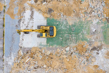 Aerial View Of A Crane Operating In A Construction Site In Sebastian, Florida, United States.