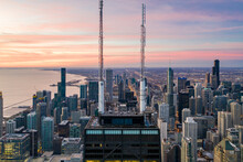Chicago, United States - 25 October 2020: Aerial View Of Chicago City Center, View Of Downtown City At Sunset Facing Michigan Lake, Chicago, Illinois, United States.