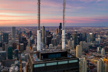 Chicago, United States - 25 October 2020: Aerial View Of Chicago City Center, View Of Downtown City At Sunset, Chicago, Illinois, United States.