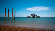 Old Brighton West Pier, Years After It Has Burnt Down.