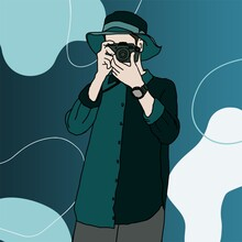 Boy With Favorite Camera,   On Drop Water Green Color Blending Concept Background.