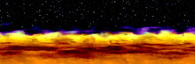 Abstract Panoramic Oil Art Brush Strokes Orange Yellow Desert Landscape With Night Starry Sky, Silhouette Of Mountains
