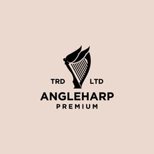 Angel Harp Vintage Logo Icon Illustration Premium Vector