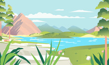 Beautiful Landscape Illustration With Mountainous, Lake And Broad Green Hill