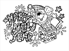 Tree With Flowers And Birds Happy New Year Coloring Page,