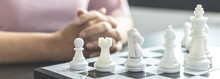 Businesswoman Playing Chess, Proactive Business Planning And Marketing Strategy Just Like Playing Chess, Business Competition And Success, Leadership Concept.