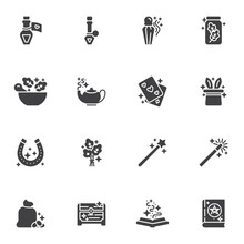 Magic And Witchcraft Vector Icons Set