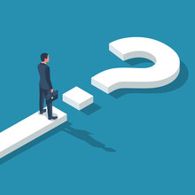 Road Forward In Form Of Question Mark. What's Next. Big Question Mark On Way. Businessman In Suit With Briefcase Looking Unknown Open. Vector Illustration Isometric 3D Design. Isolated On Background.