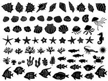 海の生き物のシルエットアイコンセット