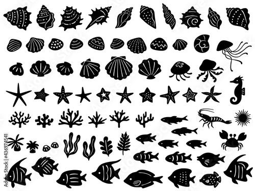 Foto 海の生き物のシルエットアイコンセット