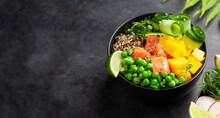 Poke Bowl With Salmon, Cucumber And Mango