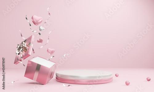 Obraz na plátně Minimal product background for Christmas, New year, Valentine concept