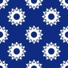 Seamless Pattern With A Pattern Of The Silhouette Of Tulips And Leaves. Design In Blue For Printing, Packaging, Fabric. Damascus Styling. Vector Illustration