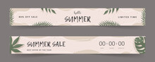 Hello Summer. Sale Banner. Calligraphy Quote. Vintage Background With Tropical Leaves. Vector Illustration In Flat Style.