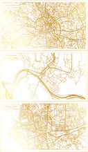 Montpellier, Marseilles France And Manchester England City Map Set.