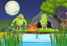 Night Scene With Goblin Or Troll Cartoon Character