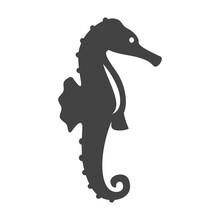 Monochrome Sea Horse Icon Vector Flat Illustration Logotype Of Seahorse Wild Underwater Animal