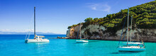 Beautiful Bay With Sailing Boats, Paxos Island, Greece. Panoramic View, Banner