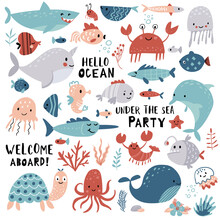 Cute Sea Animals, Ocean Set For Summer Baby Shower And Girls And Boys Birthday Party Design. Cartoon Narwhal, Whale, Dolphin, Crab, Turtle, Octopus, Fish, Medusa.