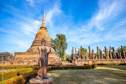 Obraz na płótnie Temple in Si Satchanalai historical park at sukhothai in thailand