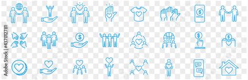 Volunteering icons set Fototapet