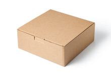 Brown Cardboard Box Isolated On White Background.