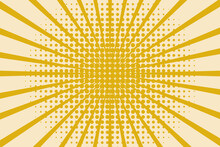 Pop Art Background With Halftones, Rays And Dots. Modern Design In Trending Colors. Vector Graphics.
