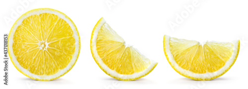 Fotografie, Obraz Lemon slices isolate on white