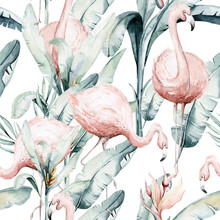Tropical Seamless Pattern With Flamingo. Watercolor Tropic Drawing, Rose Bird And Greenery Palm Tree, Tropic Green Texture, Exotic Flower