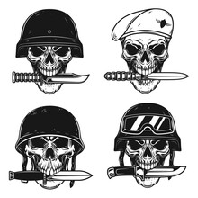 Set Of Illustrations Of Skull In Military Helmet With Knife In Teeth In Monochrome Style. Design Element For Logo, Label, Sign, Poster. Vector Illustration