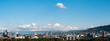 canvas print picture - Zurich city daytime panorama rooftop view. Sunny day, puffy clouds, sky scrapers and construction cranes. Snowy Alps in the background