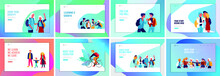 Back To School Flat Vector Illustrations Set. Preteen And Teenage Schoolkids. Parents With Kids, Schoolmates, Friends Cartoon Characters Isolated On White Background. Schoolboys And Schoolgirls